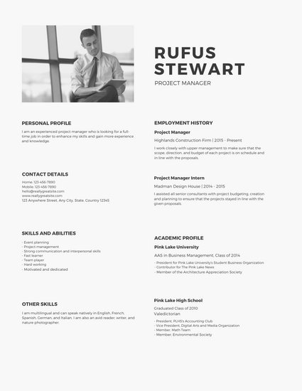 Monochromatic Minimalist Modern Resume