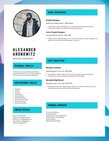 Dark Turquoise Graphic Designer Resume