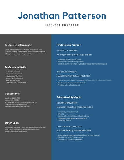White and Blue Simple Teacher Resume
