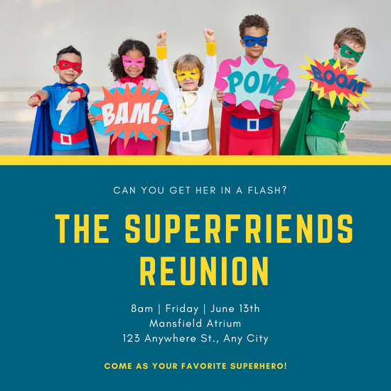 Blue and Yellow Superhero Invitation