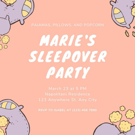 Peach and Purple Pillows Sleepover Party Invitation