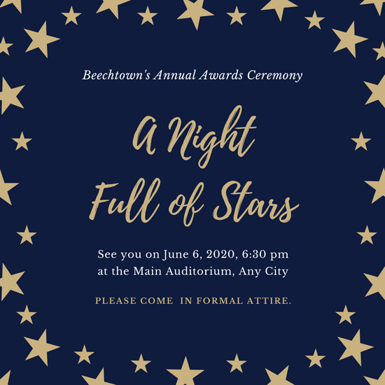 Blue and Gold Patterned Stars Awards Night Invitation