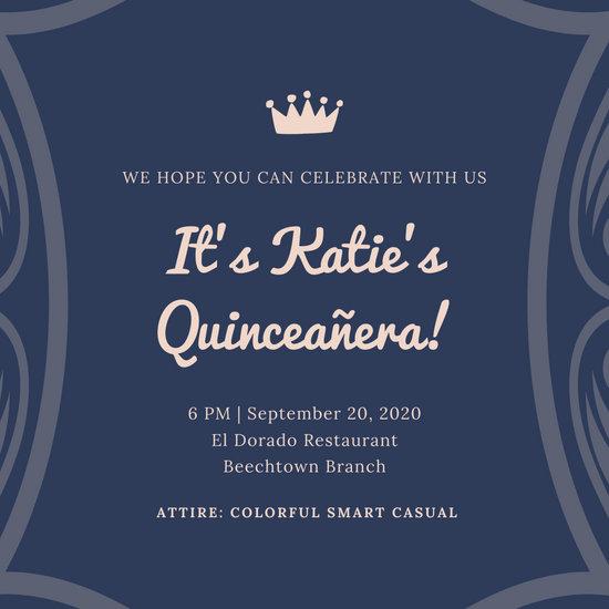 Blue and White Elegant Bordered Quinceanera Invitation