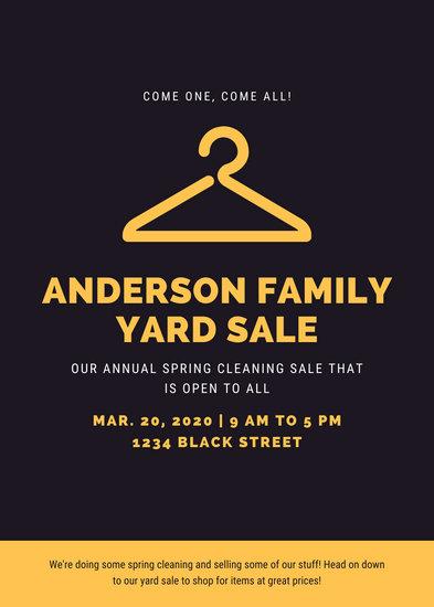 Black and Yellow Hanger Yard Sale Flyer