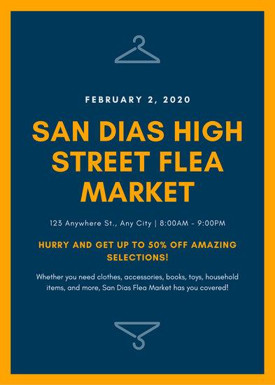 Blue and Orange Hanger Icons Flea Marker Yard Sale Flyer
