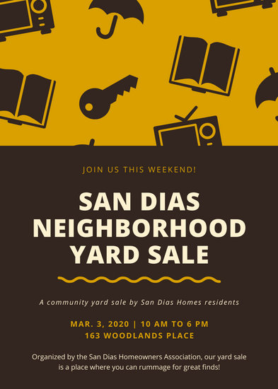 Brown Icons Yard Sale Flyer