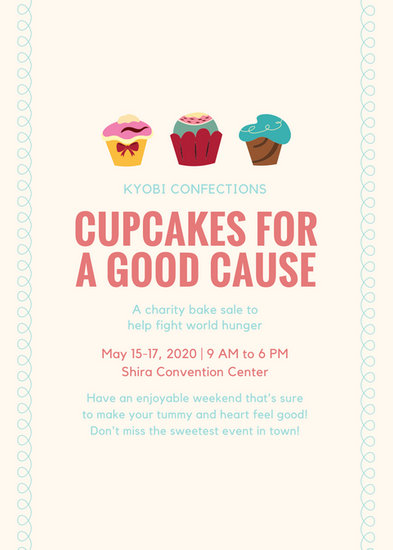 Cream and Blue Cupcake Fundraiser Flyer