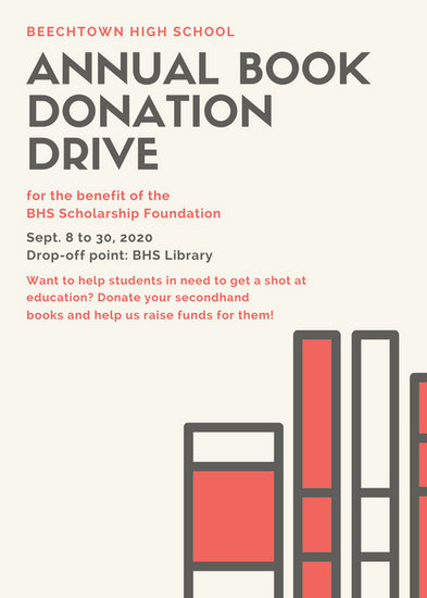 Cream Book Drive Fundraising Flyer