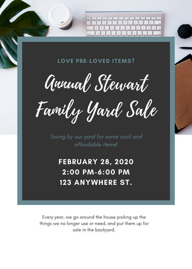 White and Gray Flatlay Photo Grid Yard Sale Flyer