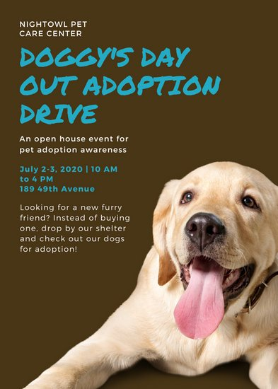 Brown Dog Shelter Adoption Fundraiser Flyer