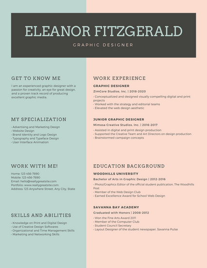 Green and Pink Graphic Designer Corporate Resume