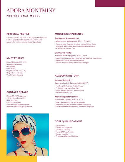 Yellow Magenta Fashion Photo Creative Resume