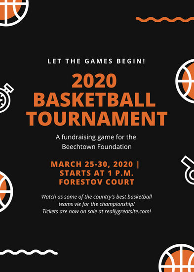 Black and Orange Basketball Fundraiser Flyer