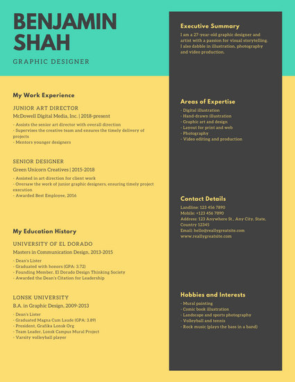 Yellow and Green Modern Creative Resume