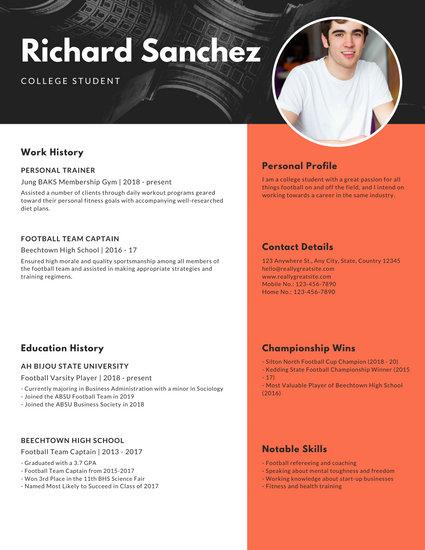 Black Orange Modern Photo College Resume
