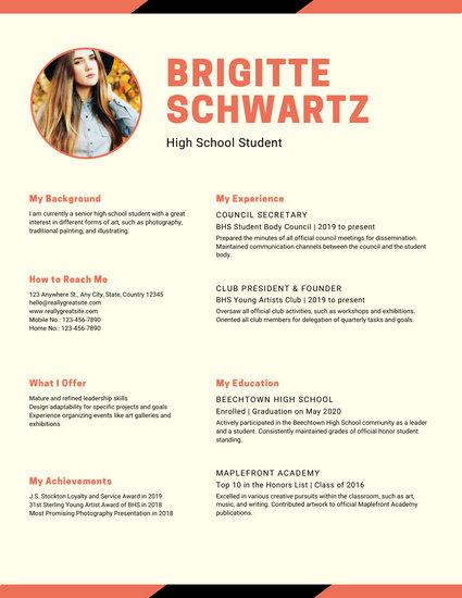 Orange Warm Modern Photo High School Resume