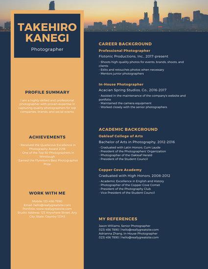Blue and Orange Modern Resume