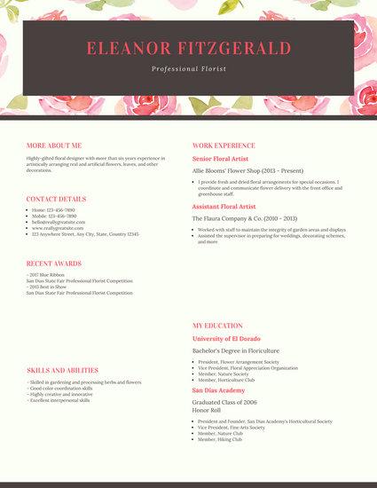 Pink Floral Pattern Professional Florist Resume