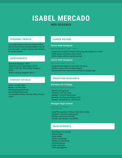 Green and White Simple Resume