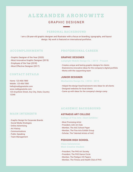 Green and White with Cursor Graphic Design Resume