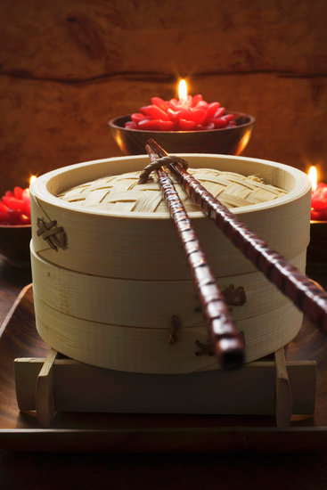 Bamboo Steamer and Candles