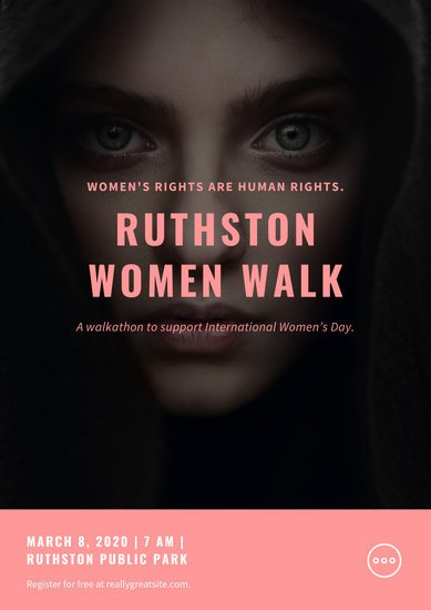 Pink Bordered Women's Rights Awareness Poster