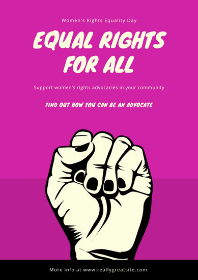 Pink Black Illustrated Fist Women's Rights Poster