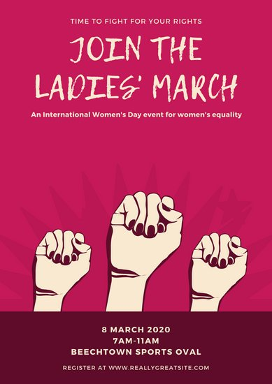 Pink Raised Fist Women's Rights Poster