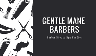 Black and White Illustrated Barber Business Card