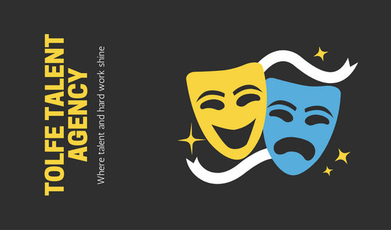 Black Theater Masks Vector Actor Business Card