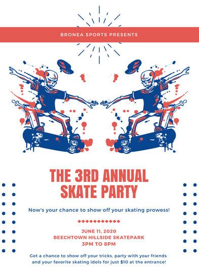Blue Orange White Skate Party Flyer