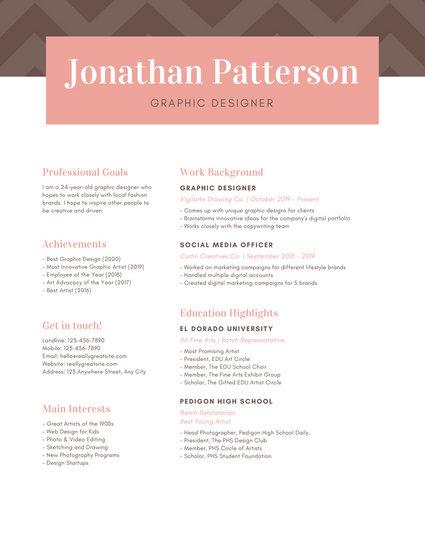 Pink Brown Elegant Chevron Graphic Designer Resume
