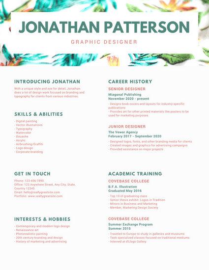 Green Header Graphic Design Resume