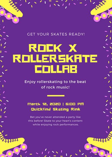 Purple Confetti Skate Party Flyer