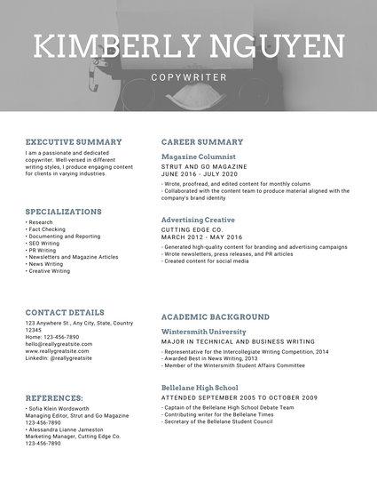 Greyscale Photo Modern Resume