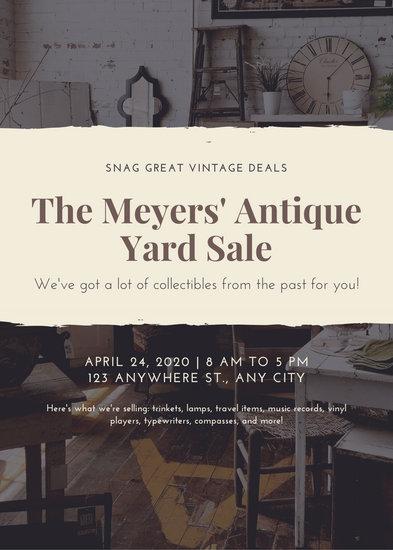 Beige Vintage Yard Sale Flyer