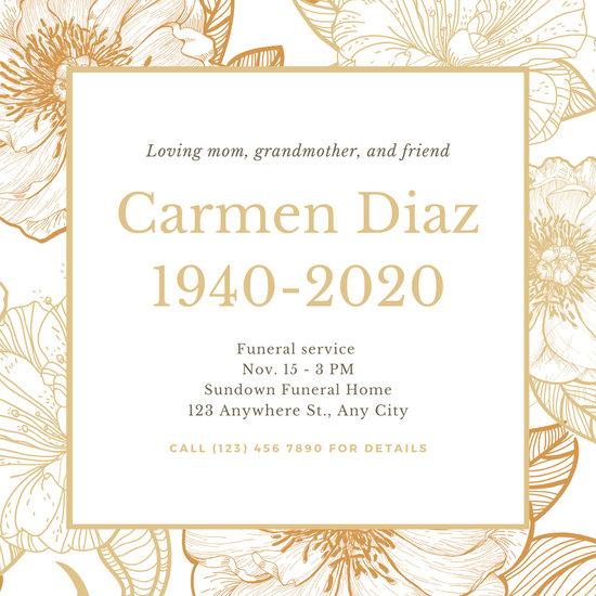 Gold Floral Funeral Invitation