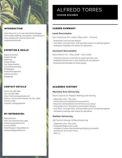 White and Black With Tropical Leaves Modern Resume