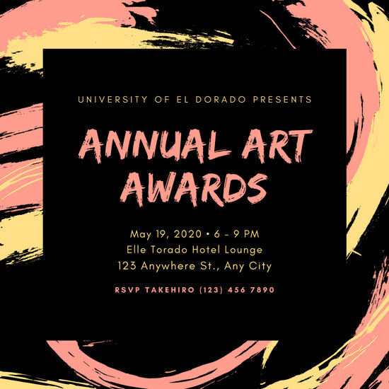 Charcoal Yellow and Coral Brush Strokes Awards Night Invitation