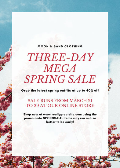 Simple Bordered Flowers Spring Sale Flyer