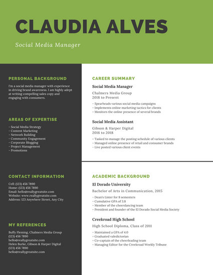 Green Checkered Background and Black College Resume