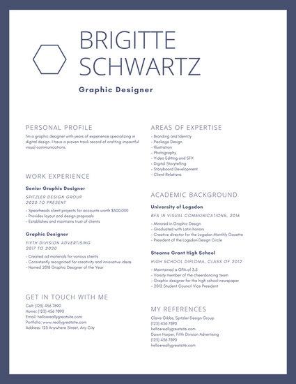 Blue Bordered Graphic Design Resume