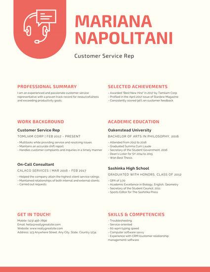 Cream and Red Modern Customer Service Resume