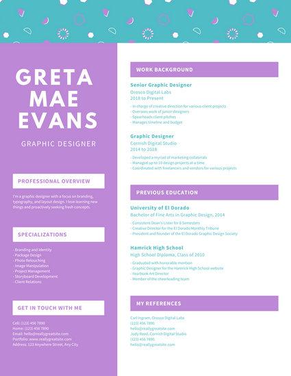 Pastel Funky Pattern Header Graphic Design Resume
