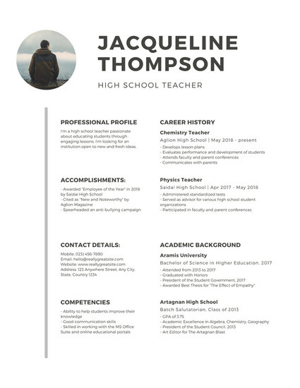 White Minimalist with Photo Teacher Resume