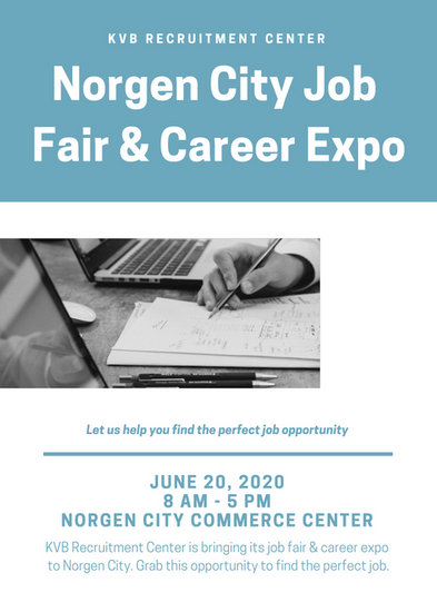 Light Blue and Monochrome Job Fair Flyer