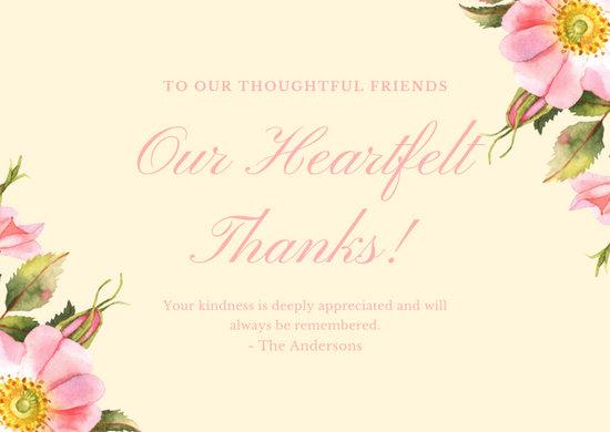 Pink Cream Rose Caroline Bush Funeral Thank You Card
