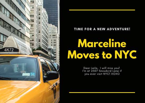 Black and Yellow New York Change of Address Card