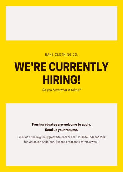Yellow Sign Board Job Vacancy Announcement