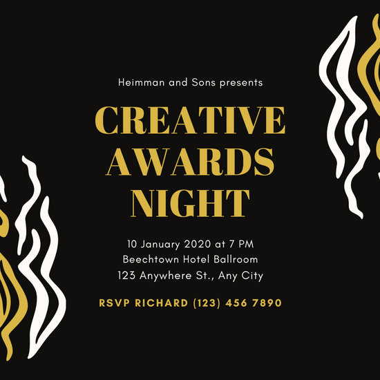 Black and Gold Wave Pattern Awards Night Invitation